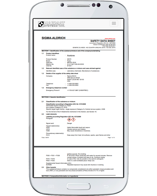 Either online or on the mobile interface, quickly access the manufacturer's SDS in PDF format